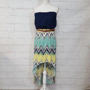 Trixxi High Low Strapless Maxi Dress Sz M